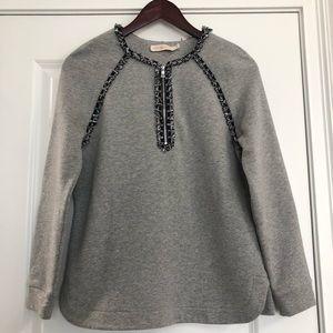 Tory Burch Gray Fringed Zip Sweatshirt